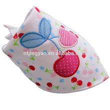 cherry printing pinafore,cotton triangular bandage,baby bib