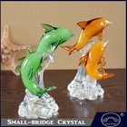 Hot Sale Exquisite Decorative Gift Couple Colorful Glass Dolphin