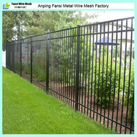 Iron Fence Panel 4ft 5ft 6ft 8ft High 3 Rail, Pressed Point Picket Top