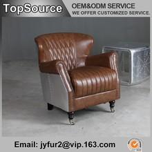 Leather Armchair High Back Armchair Vintage Armchair with Aluminium Cover