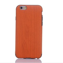 newest wood grain pu leather phone case for iphone 6