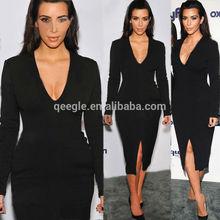long sleeve women fashion dress, black tighten slim fit dress lady, deep v neck dress with split