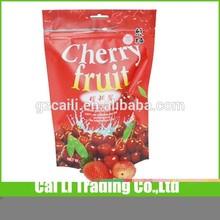 oem press zipper top fruit packaging cherry