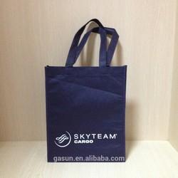 handled style dark blue color non woven shopping bag