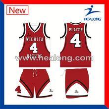 Healong Sublimated 100% Polyester Short Sleeve Basketball Jersey