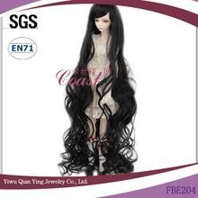 new design BJD long black curly high quality doll wigs