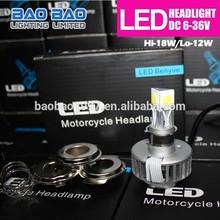 New Products on China Market moto auto light, car h3 led headlight bulbs, 3-Light led headlight 1800lm BAOBAO Lighting