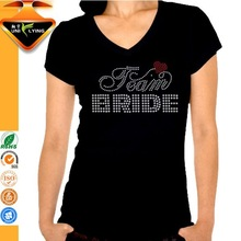 Team bride rhinestone plain cotton round neck t-shirt for women