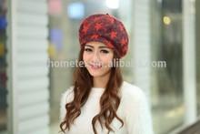 five-pointed star wool beret Women's warm autumn winter knitting hat