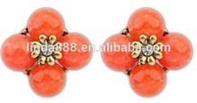 European style hot design bohemian retro flower stub earrings popular gift for girl friend (orange)