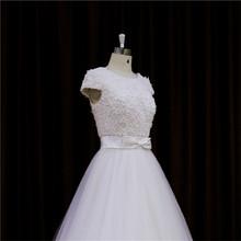Glamorous drape Knee-length high class wedding gowns bridal gowns