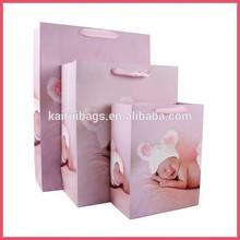 2015 new design matt 4C printing printed pink paper shopping bag