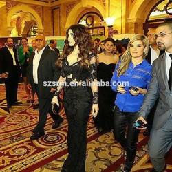 Haifa Wehbe Black Mermaid V Neck Floor Length Sheer See Through Lace Applique Long Sleeves Celebrity Dress Women Gown ZSD-049