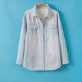 ms81145b 2014 lazer quente grosso denim blusas para as mulheres uniforme