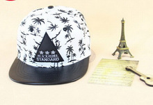Fashion Hip Hop Triangle Mark Coconut Tree Print Flat Brim Snapback Cap