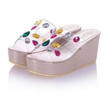 2014 summer sweet girls PVC upper diamond wedge heels sandal fashion women's colorful rubber sole wedges slide sandal