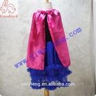 Fashion black girl dress set , frozen Anna dress with hot pink cape