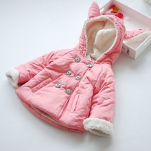 C84494A Printing rabbit little girl's winter coats,Double-breasted hooded coat for girl