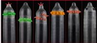 New BOB 6 different colours exotic strange novelty spike teething G spot Natural latex rubber condoms for men