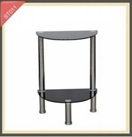 New style semicircular tempered glass stainless steel side table ST011