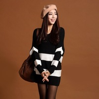 2015 new winter women's thick stripes loose long section knit sweater large yard popular style