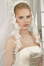 One Layer Best Price Floral End Bridal Veil Catherdral Train