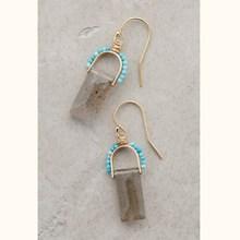 Pierced Beaded Crystal Drop Earrings Turquoise Sunrise Drops