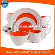 Christmas Festival 16 Pieces ceramic porcelain stoneware type embossed RED Dinnerware Set