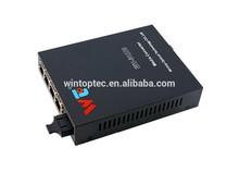 10/100M,20KM, Media convert, Fiber Ethernet Converter with 4 RJ45 Ports;Optical media converter