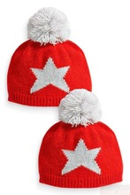 Red five-pointed star pompom knitting children's winter Hats