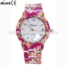 Women's Ladies Designer geneva flower watches plastic floral pattern watches