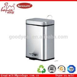 Environmentally friendly colorfel pedal dustbin with rectangel shape 2 bucket inside