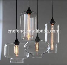 Modern hand blown glass pendant light