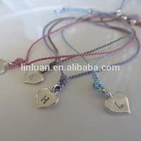 2015 cheapest sales promotion silk cord rope adjustable Heart Friendship Bracelet for women girls