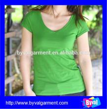 Wholesale Custom100% Cotton Woman Green V Neck Blank Short Sleeve T shirts,