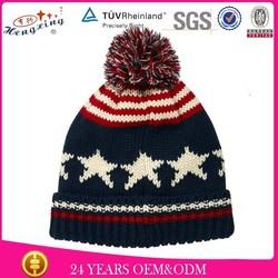100%wool mens wool custom knitted pom beanie hat