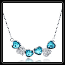 High Quality Costume Personalized Rhinestone Heart To Heart Chain Necklace MGJ0013