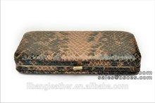 long flat fake leather material snake skin pu woman metal frame wallet