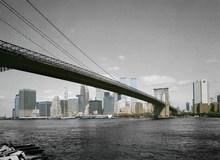 3D wall paper, City Skyline design of wall paper, New York Bridge design of wall mural