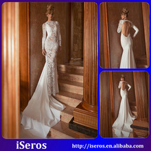 Romantic Bateau Floor length Lace and satins Mermaid mermaid wedding dresses with long trains 2015