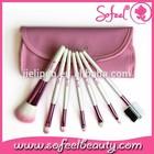 2015 Best 7pcs Beautiful pink Natural Hair Professional Makeup Brush Set Custom Logo OEM