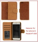 Hot sell fashion oil waxed leather flip phone case with card slots