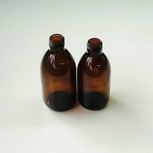 amber syrup glass bottle