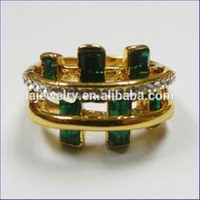 fashion ring gold wedding rings green emerald rhinestone ring
