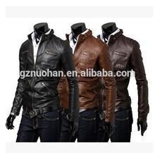 slim fit cheap leather jacket men