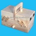 2015 venta caliente FSC y SA8000 FSC plegable de madera maciza caja de costura de madera venta al por mayor