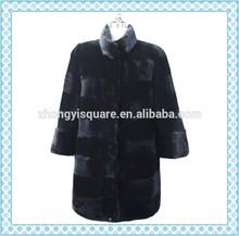 çini fabrikası siyah vizon panço/kadın kış kürk mantolar/deri ceket
