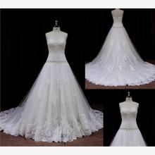 new model 2015 netting lace strapless slim aline wedding dress