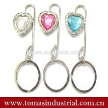 Customized design crystal table bag hanger \bag hook \bag holder with keyring