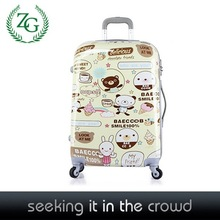 2014 fashion cartoon design 360 degree uni-spinner abs pc film printing trolley luggage set suitcase